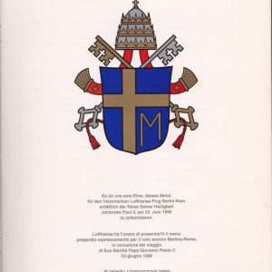 Menu From Shepherd I With John Paul II Coat of Arms