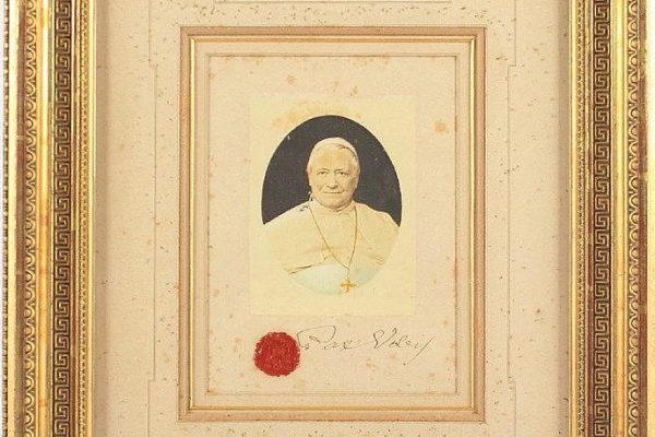 """Pope Pius IX: A Framed Photograph, Signed, """"Pax Vobis"""""""
