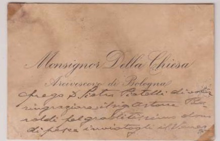 Business Card Written Entirely in Benedict XV's Own Hand, Dated 1913