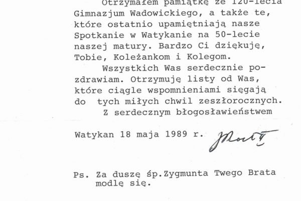 Pope John Paul II: A Letter Signed by Him on May 18, 1989