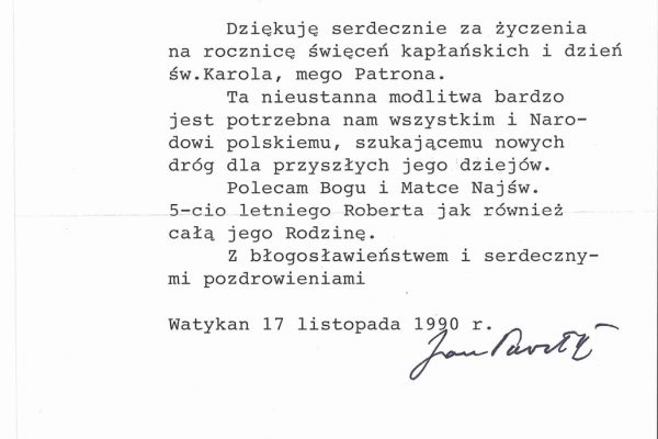 Pope John Paul II: A Letter Signed by Him on November 17, 1990