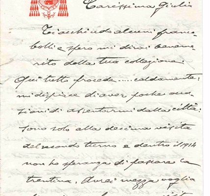 Benedict XV: A 3 Page  Letter as Cardinal with Letterhead