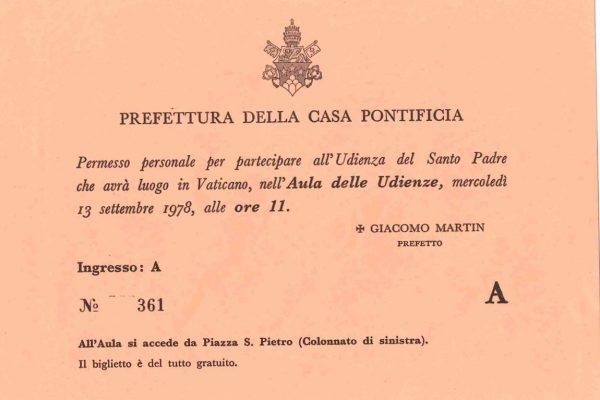 Pope John Paul I: A Ticket to the September 13, 1978 General Audience