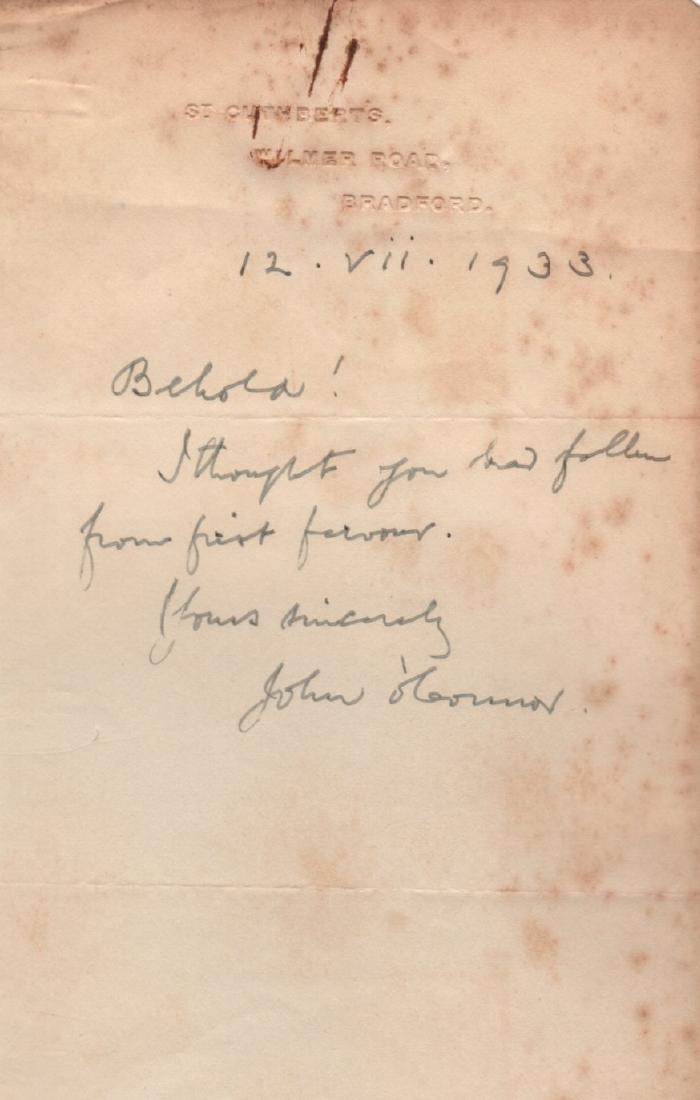 Monsignor John OConnor Letter of July 12, 1933