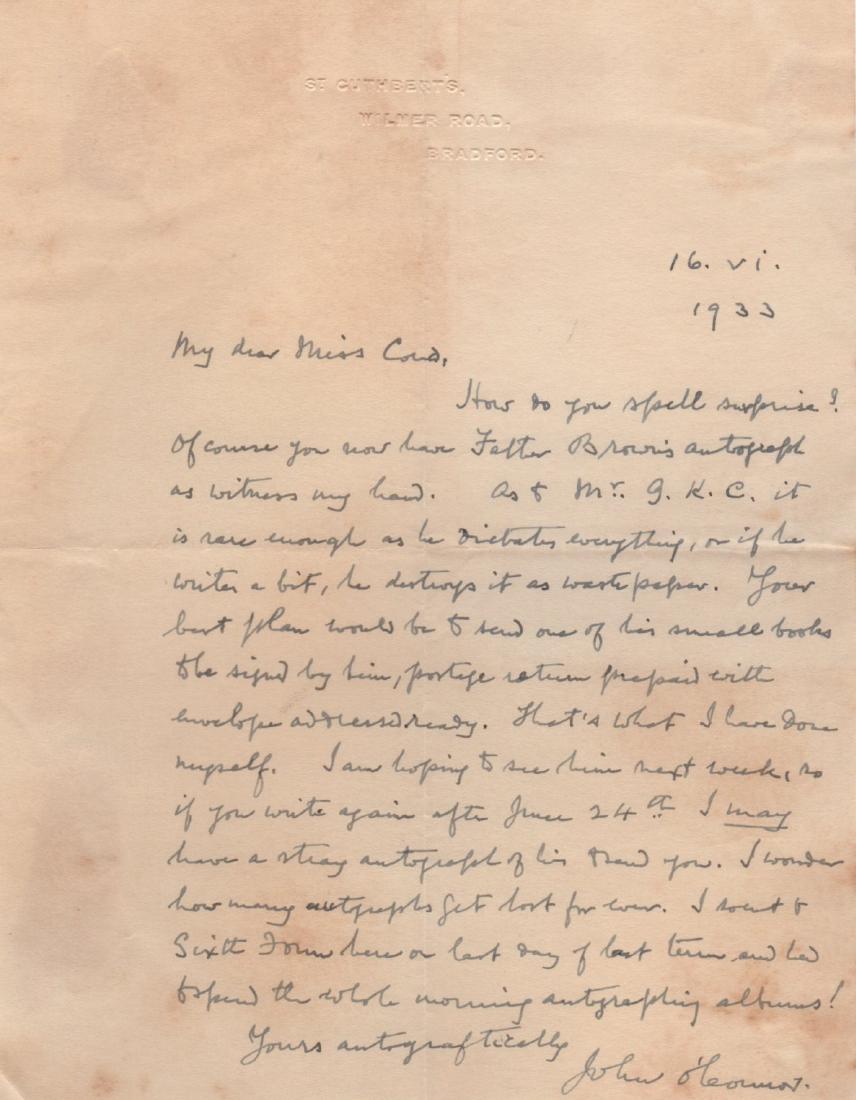 Monsignor John O'Connor Letter of June 16, 1933