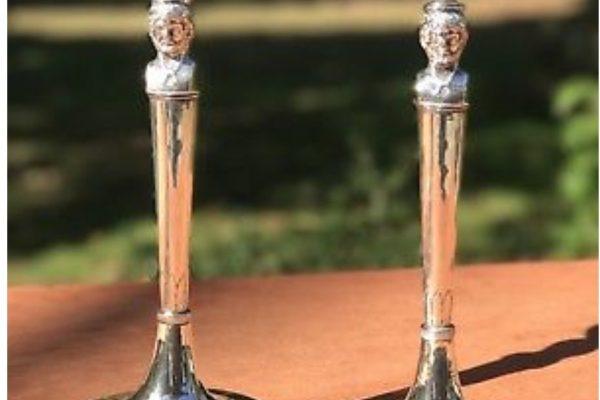 Pope Pius VIII: Italian Sterling Silver Candlesticks with Maker's Mark of Cross Keys & Tiara