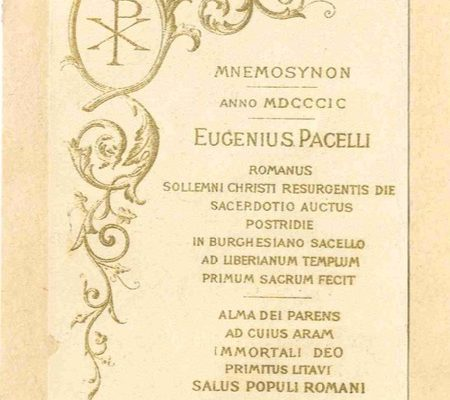 Pope Pius XII: The 1899 Holy Card from His Ordination to the Priesthood