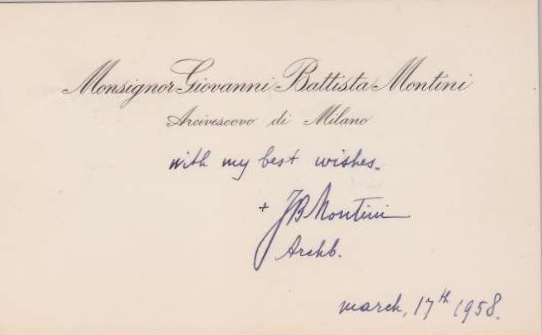 Calling Card Signed by Pope  Paul VI as  Archbishop,  Dated 1958