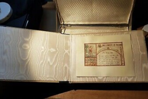 Pope Pius XI: A Decorative Folder for His  Personal Papers  Inside an Ornate Metal Case