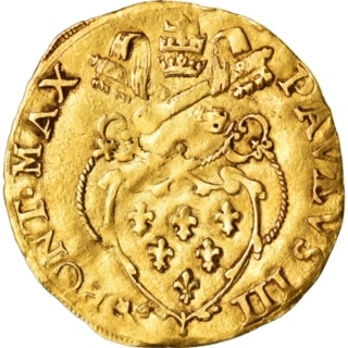 Pope Paul III: A Gold Scudo with His Coat of Arms