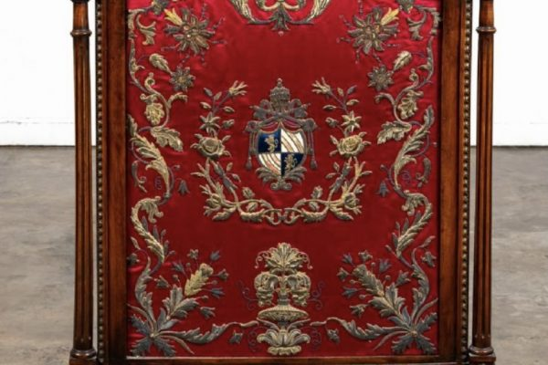 Blessed Pope Pius IX: An Embroidered Panel Fire Screen